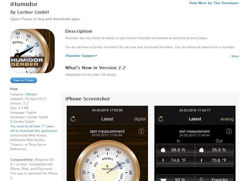 Gerber Humidore mobile Handy-App