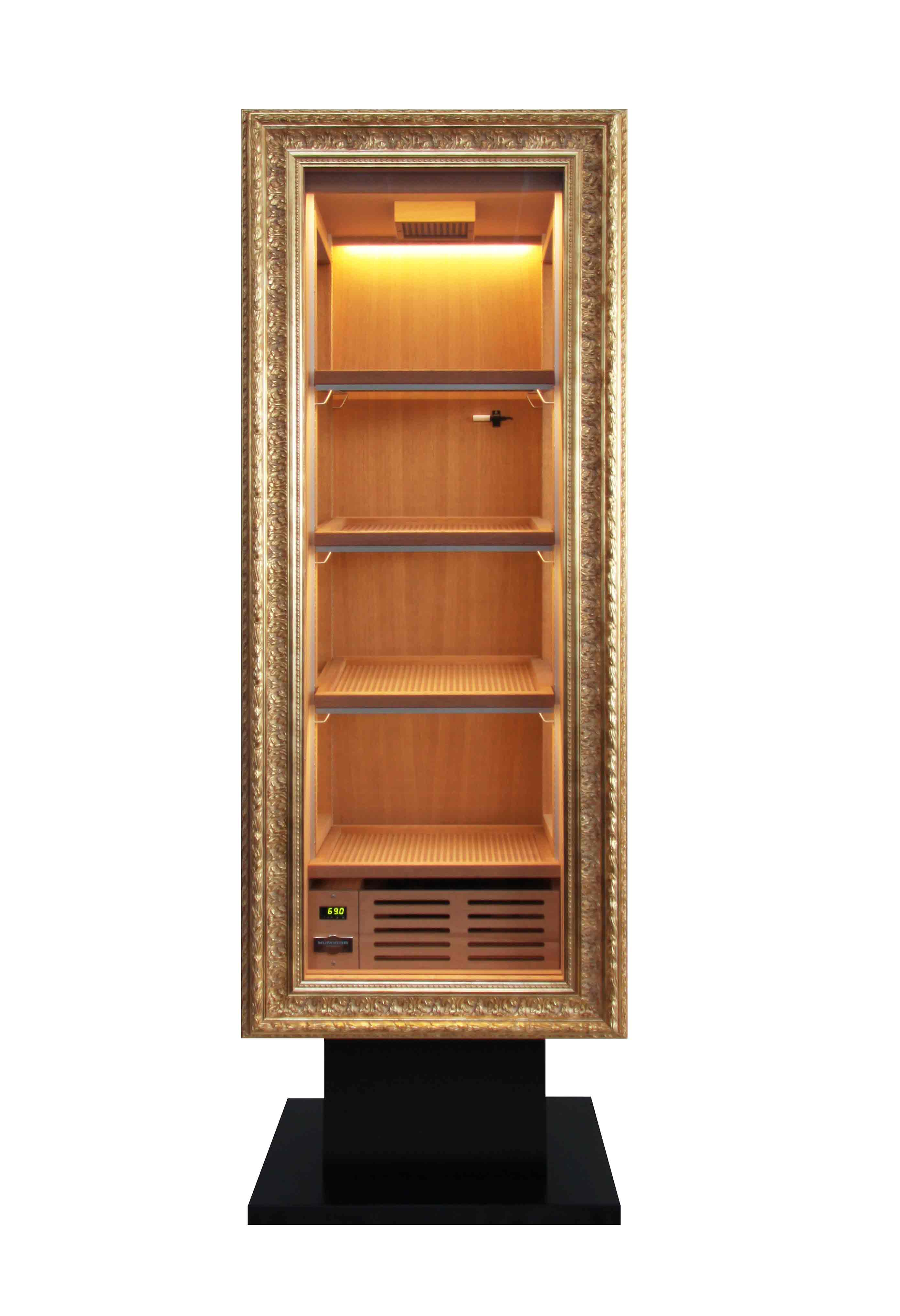 CigarArt schwarz mit goldenen Rahmen GERBER Humidor