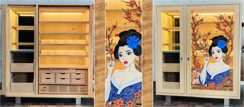 zigarrenschrank humidor graphik geisha tattoo Likörschrank