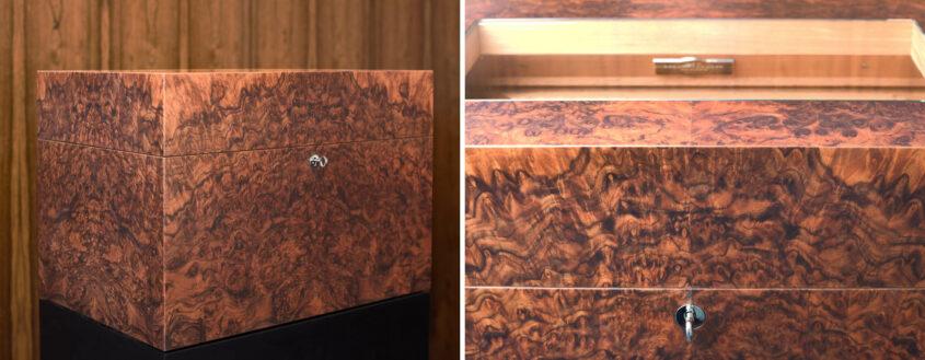 Tischlerei Gerber Cube Humidor aus Nussbaumwurzel